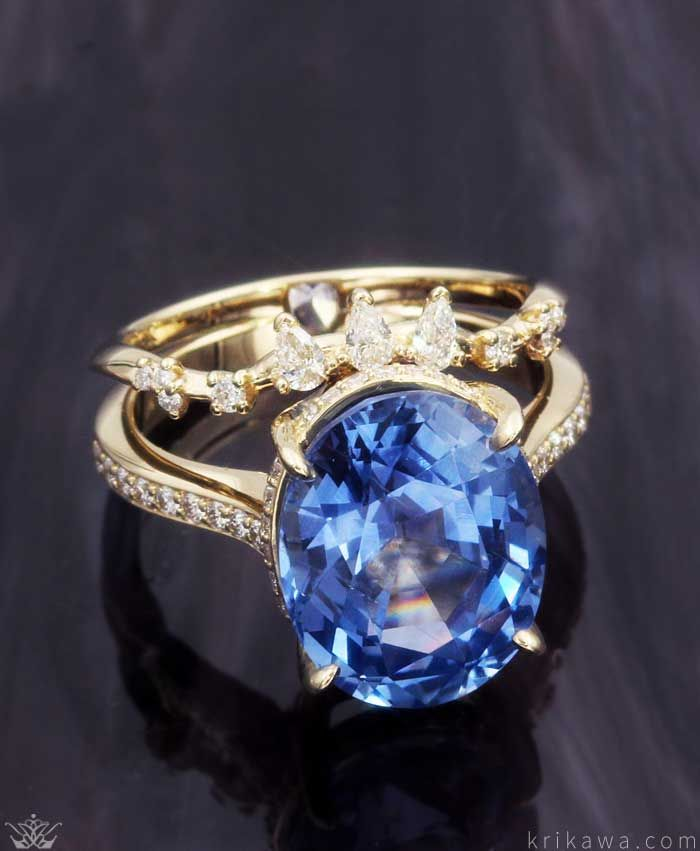 ed0b7f936a40b Raindrop Dazzle Engagement Ring with the Wedding Band attached ...