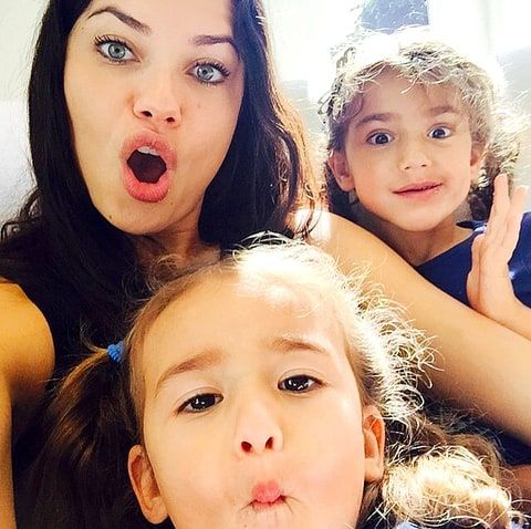 Adriana Lima with her daughters Valentina and Sienna