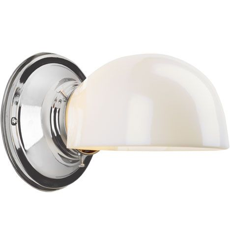 wall light next to medicine cabinet: Rejuvenation, Kent Wall Sconce w/ Classic Clamshell Shade, Polished Nickel