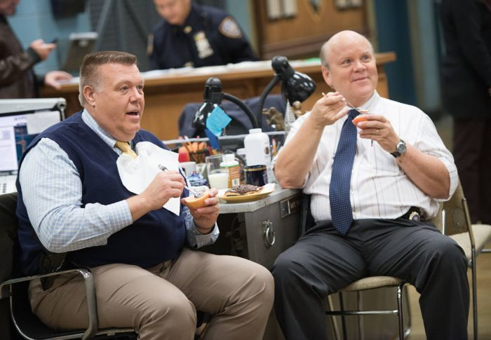 "BROOKLYN NINE-NINE: Detectives Scully (Joel McKinnon Miller, L) and Hitchcock (Dirk Blocker, R) hang out in the ""Jake and Sophia"" episode"
