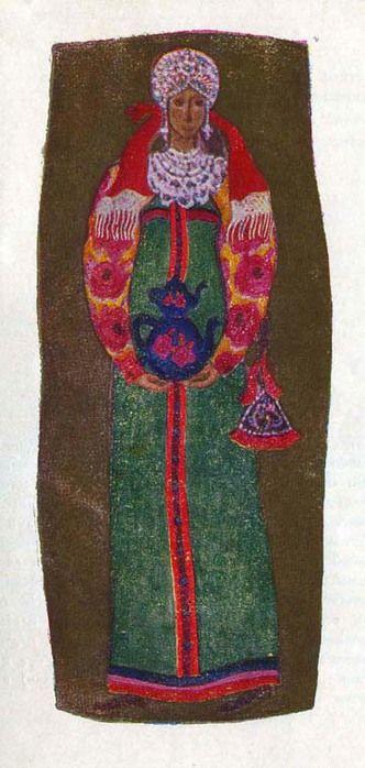 Девичий костюм крестьянки Московской губернии. Костюм состоит из цветной рубахи с широкими, суженными книзу рукавами, косоклинного сарафана и широкой ленты-повязки на голову. Сарафан украшен полосками цветной ткани и оловянными пуговицами. Праздничную нарядность костюму придают расшитая жемчугом и каменьями повязка, жемчужное ожерелье, жемчужные серьги и вплетённый в косу косник.