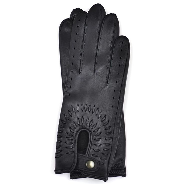 Driving Gloves for Woman in Black Leather with Lacing| Bocane