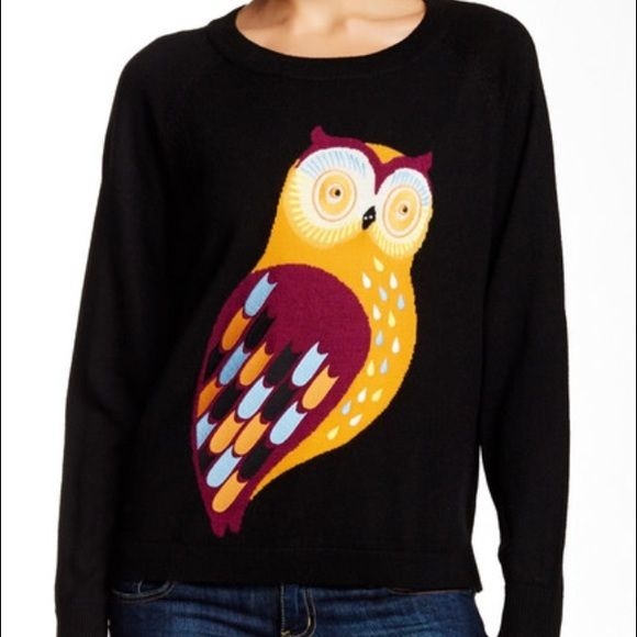 HP French Connection black multi owl sweater Crew neck - Long raglan sleeves - Embroidered owl graphic - Hi-lo hem - Banded cuffs and hem - Ribbed neck, cuffs and hem. 100% wool Hand wash cold Fit: this style fits true to size. SOLD OUT. French Connection Sweaters Crew & Scoop Necks