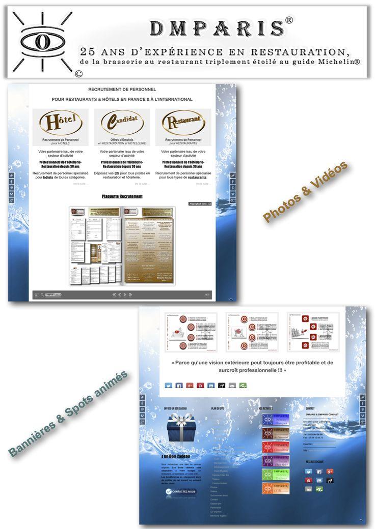 Création de site Web avec bannières et spots animés, photos et vidéos
