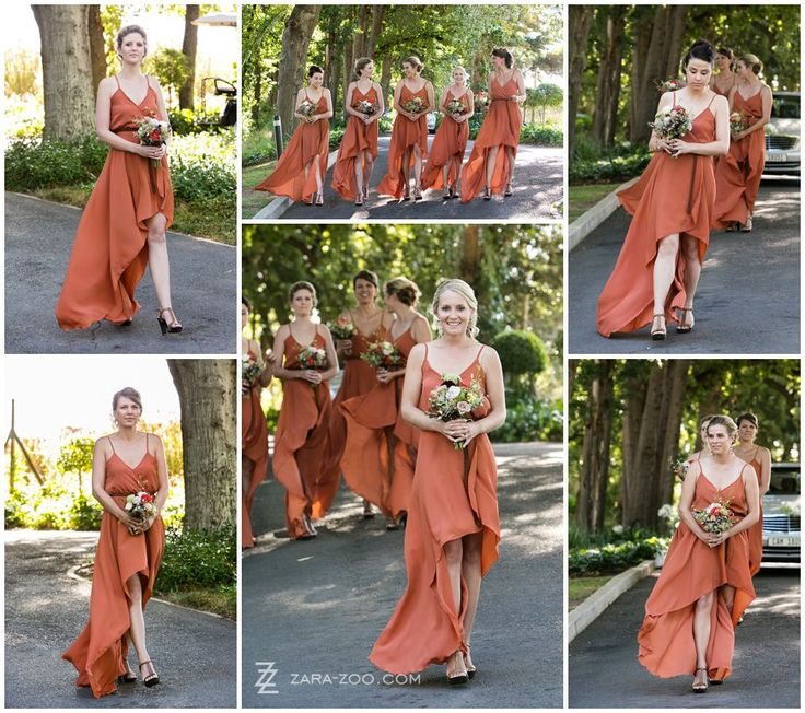 Dark mustard / brick colored flowy bridesmaid dresses with a long tail and short front.  See more of this wedding on our blog http://www.zara-zoo.com/blog/fresh-wedding-ideas-molenvliet/