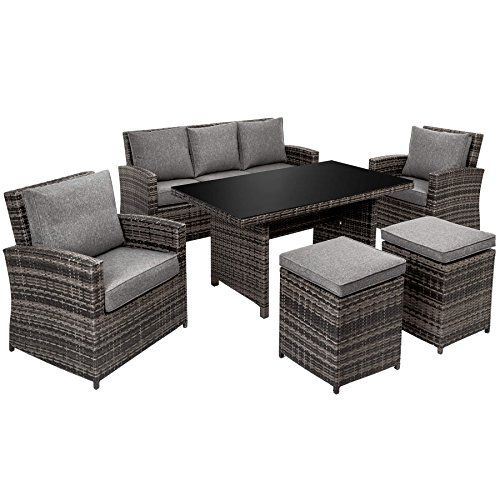 tectake aluminium poly rattan garden furniture seating dining set 1x table 2x stools 2x chairs 1x