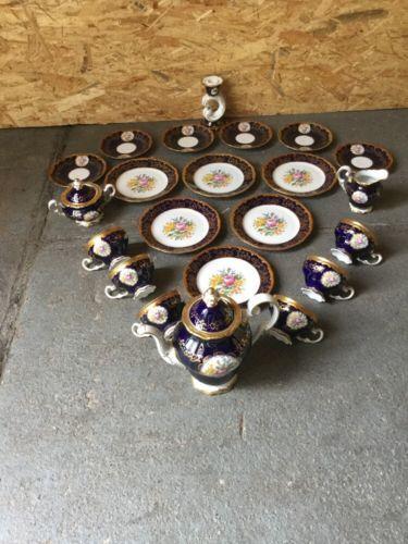 Kaffeeservice WEIMAR PORZELLAN KATHARINA KOBALT Goldrand 21TEILE+ Kerzenleuchter | eBay