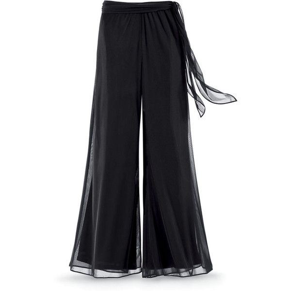 Black Chiffon Palazzo Pants ($60) ❤ liked on Polyvore featuring pants, black, bottoms, chiffon, fancy pants, dressy palazzo pants, palazzo trousers, gothic pants and renaissance pants