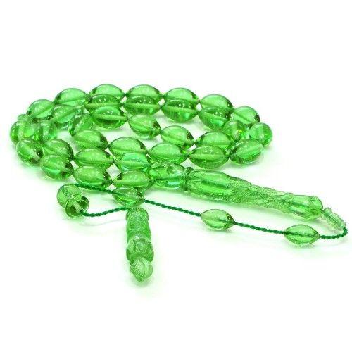Bakalite Kehribarı Yeşil Arpa 8x13mm Tesbih