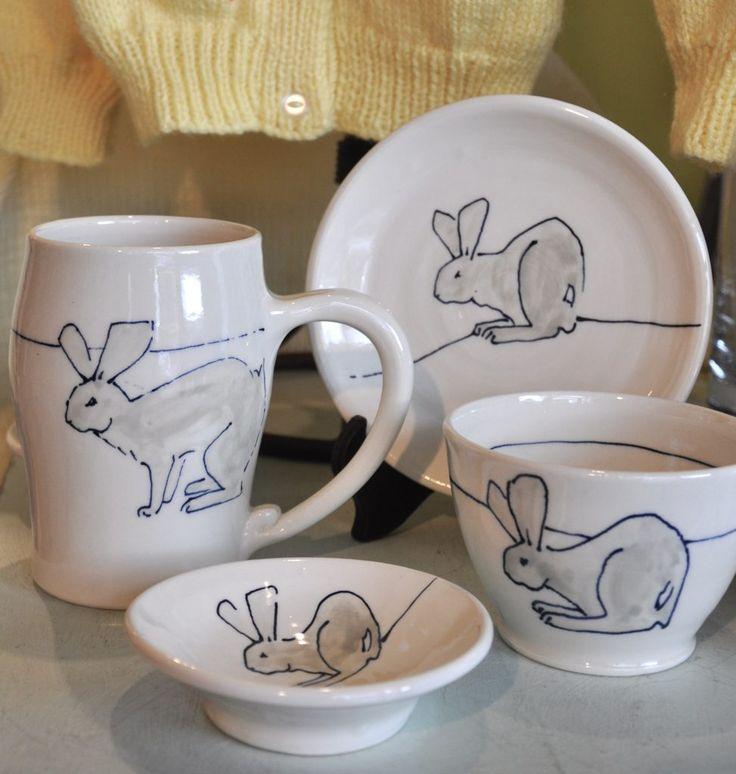 Bronwyn Arundel pottery - bunny dishes