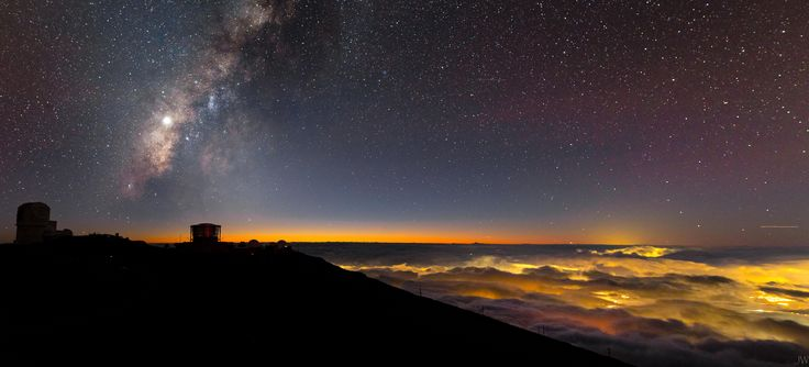 If you can survive the hurricane-like winds and ridiculous temperature change the sunset on top of Maui's only volcanic crater yields a view guarded by Hawaii's oldest observatory kept pure by the thin atmosphere.[OC][8034x3648]