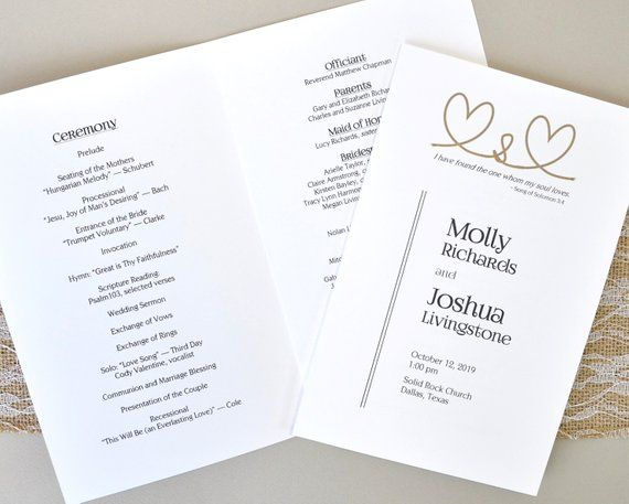 Wedding Program Template Edit In Word Song Of Solomon 3 4 One Whom My Soul L