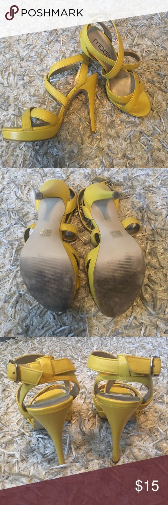 Yellow Strappy Heels Cute summer strappy heels! Only worn a few times! Shoes Heels