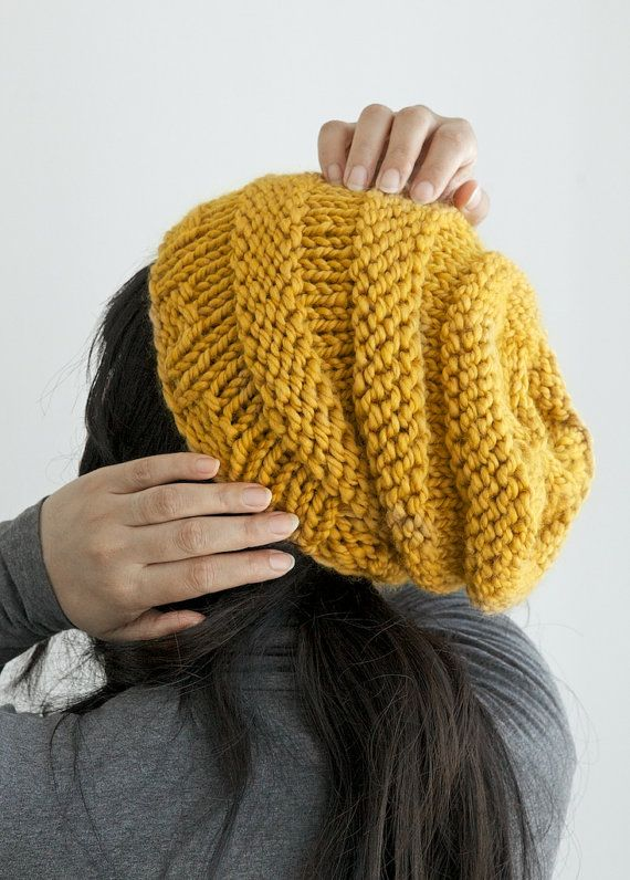 Hand knit hat, slouchy beanie hat in Mustard Yellow color, unisex knitted slouch hat, adult size    $32.00