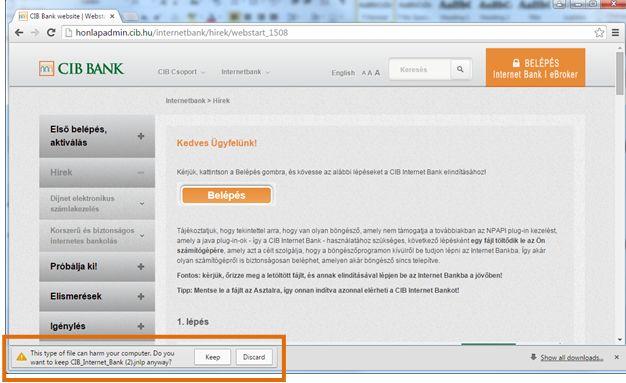 CIB Bank website | Webstart tájékoztatás