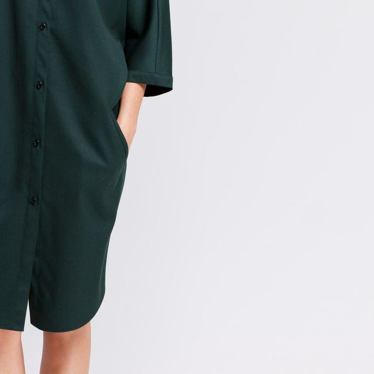 Monk Dress Green Elementy #monk #dress #wool #green #oversize #shirt #elementy #polishfashion #classic #minimal #simplicity #sukienka #polskamoda #wełna #minimalizm #aw16