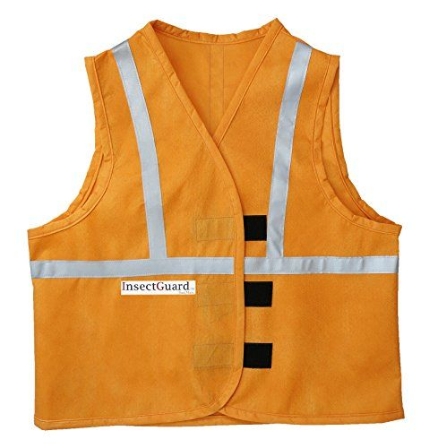 InsectGuard  Permethrin Treated Insect Repellent Vest Effective against Tick Mosquitoes Flies and More with Reflective Strips Blaze Orange SmallMedium *** Want additional info? Click on the image.