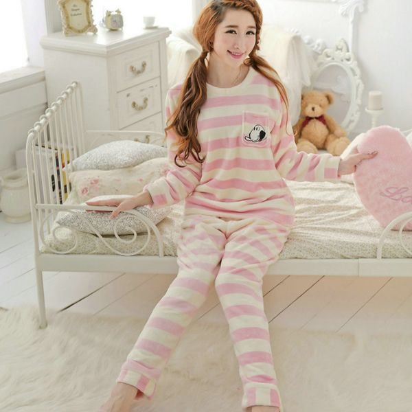 Flannel Winter Pajama Set, different size for choice & thermal