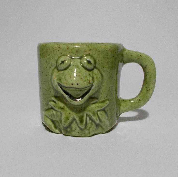 Vintage Handmade Kemit Mug 3D Raised Green Coffee Cup Muppets #Handmade