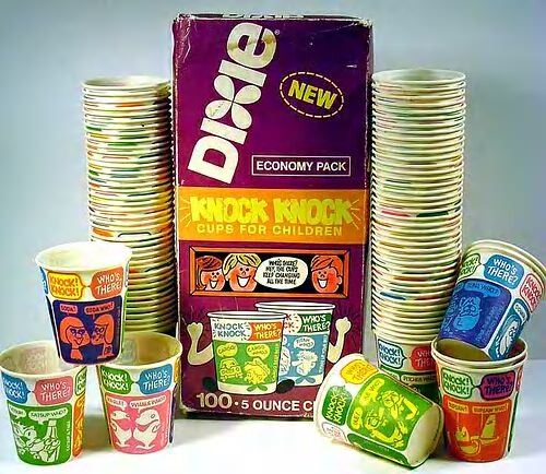 70s-child: Dixie Cups: Remember these with the jokes? We'd pull one out, take a lil sip of water, just to read a joke! Drove Mothers nuts, I'm sure, but the company knew what it was doing...smart!