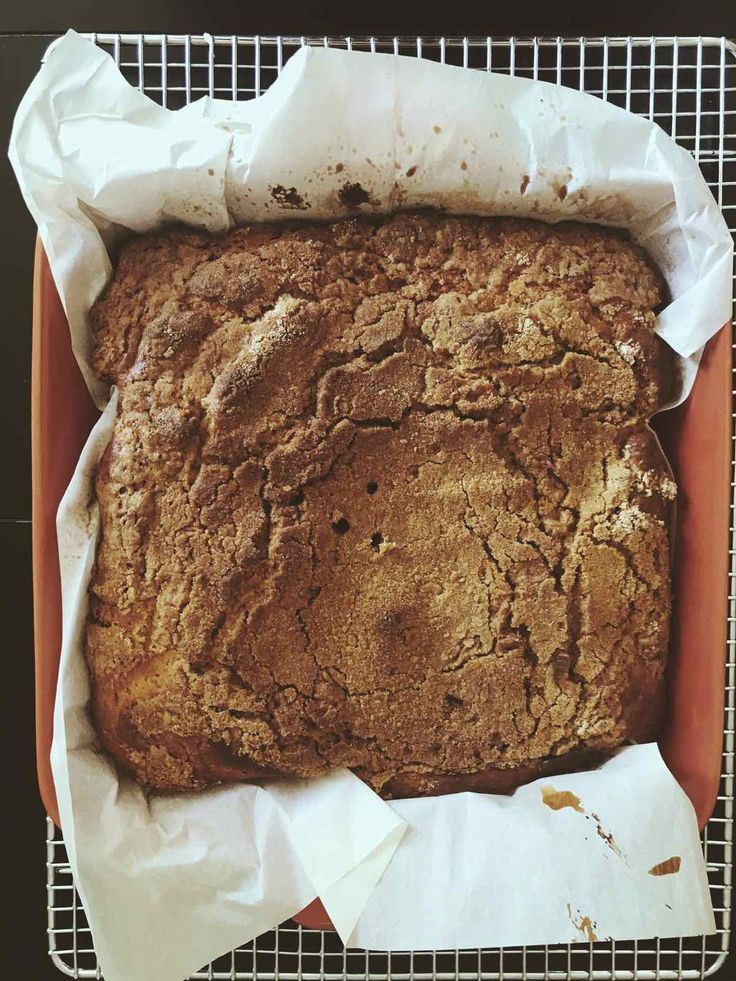 A quick coffee cake with cinnamon streusel made from instant pancake mix