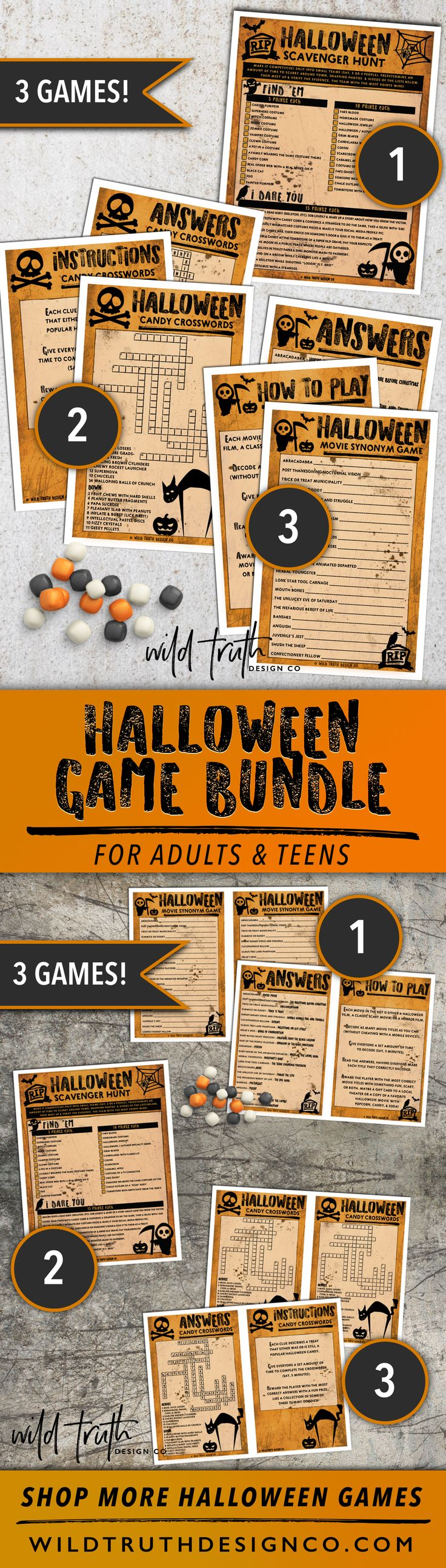 Printable halloween game bundle (Scavenger Hunt, Crosswords, Scary Movie Synonyms) - Halloween party fun for adults, kids, or families.