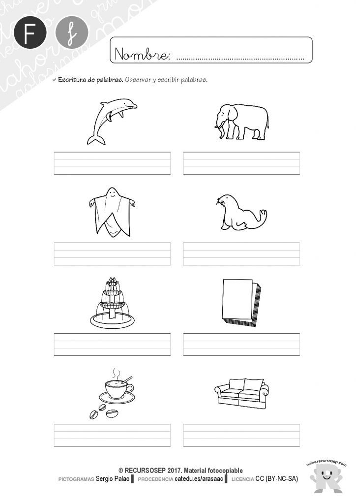 Hojas de lectura y cuadernillo de actividades: letra F   cole ...