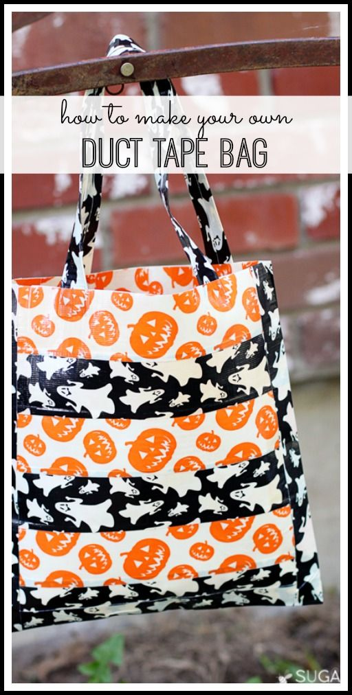 how to make your own No Sew Duct Tape Bag (this is so fun for trick or treating) - Sugar Bee Crafts