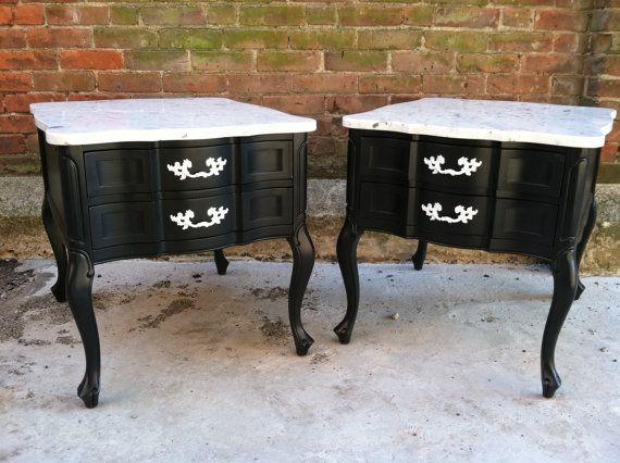 Hollywood Regency  End Tables Painted Black by KingstonKrafts, $349.00