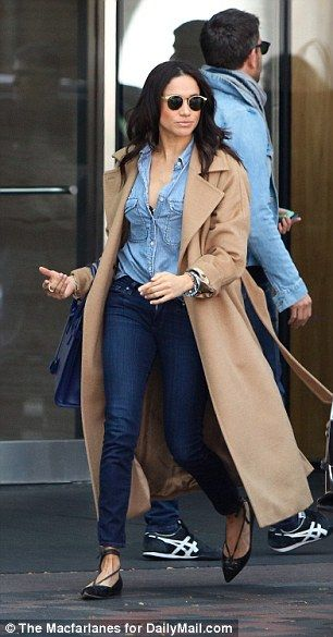 The Suits actress was dressed in double-denim with a long, tan coat and carrying a $3,500 Saint Laurent handbag