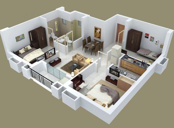 Denah Apartemen 3 Kamar Tidur Minimalis 3D 8 - 1 Kamar Tidur Sederhana
