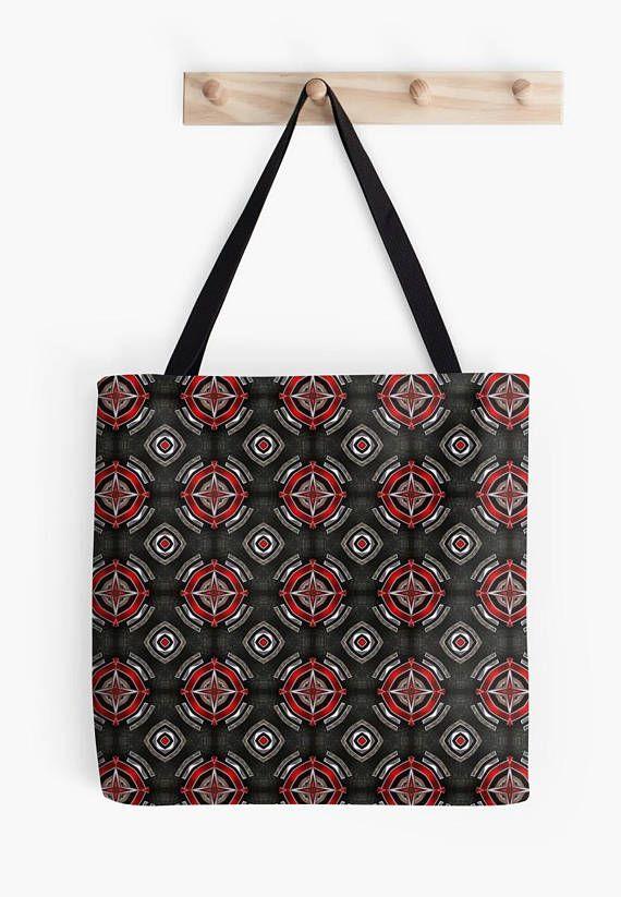 Etnic red/Black Tote bag/ yoga bag Tattoo wolf beach bag/