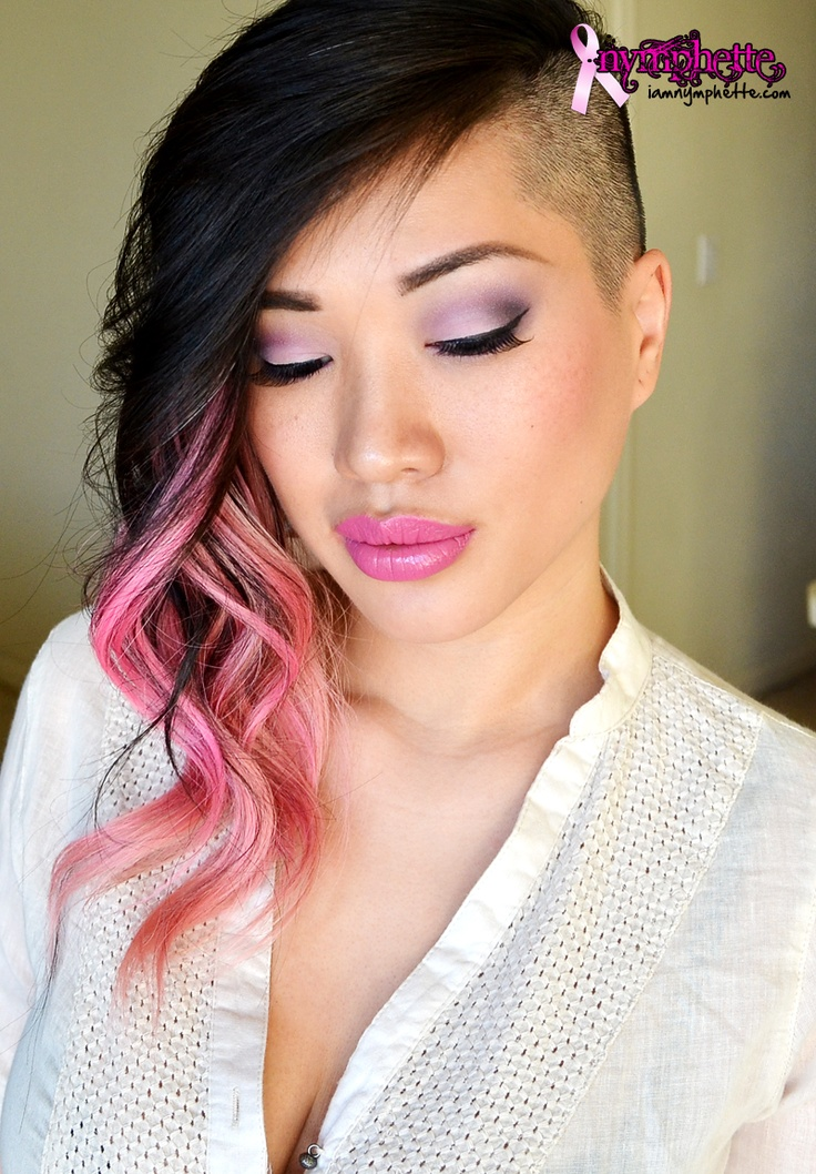 side part haircut half pink ombre hair inspiration 9514