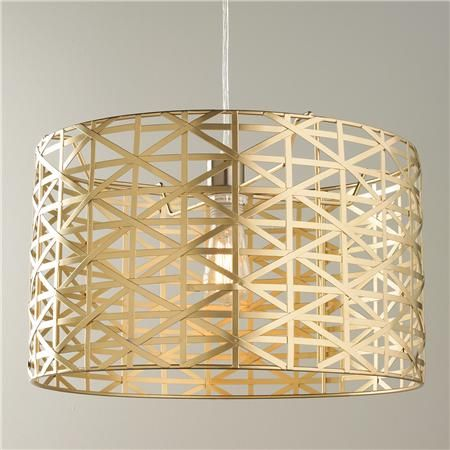 Pendant Lights Under $100: Young House Love Metal Strap Drum Pendant-Metallic Gold