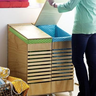 Take a day to build lidded clothing bins from plywood