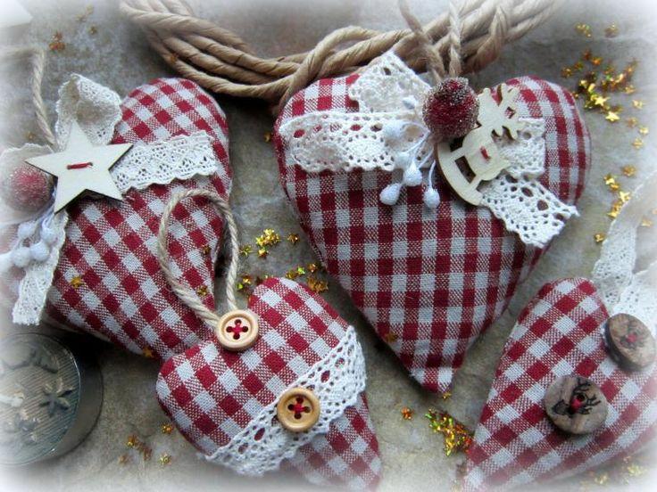 Новинка! Новоголние текстильные сердца - Ярмарка Мастеров - ручная работа, handmade