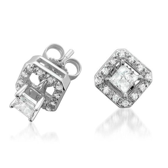 14k White Gold IGL Certified Princesscut Diamond Stud by La4ve, $349.99