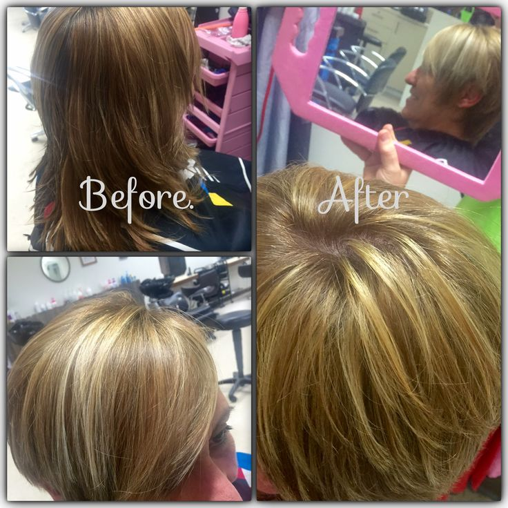 Before and after long to short blonde foils