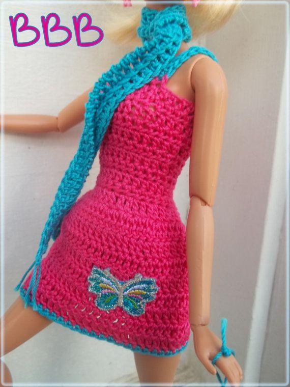Barbie Crochet Clothes Pink Spaghetti Strap Dress Glitter Butterfly A ...