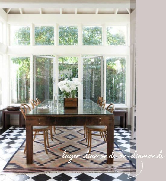 coco kelley in the details diamond rug checkered floor