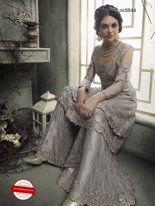 cf87c70fc4 Grey Net Sharara Pant Style Suit | Buy designer salwar suits at  www.natashacouture.com | ❤ Call / WhatsApp / Viber : +91-9052526627 | Free  Shipping in ...