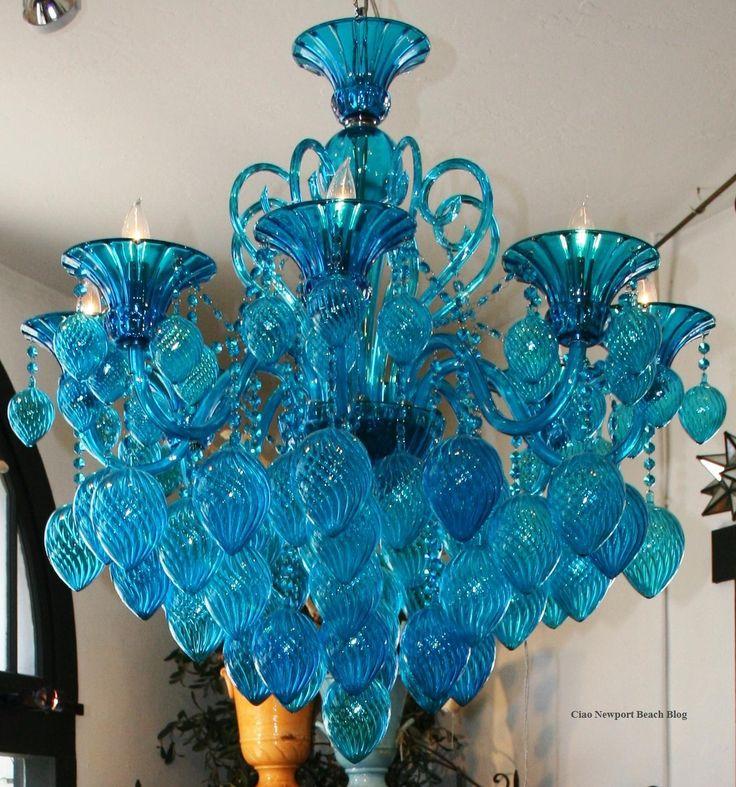 gorgeous blue chandelier