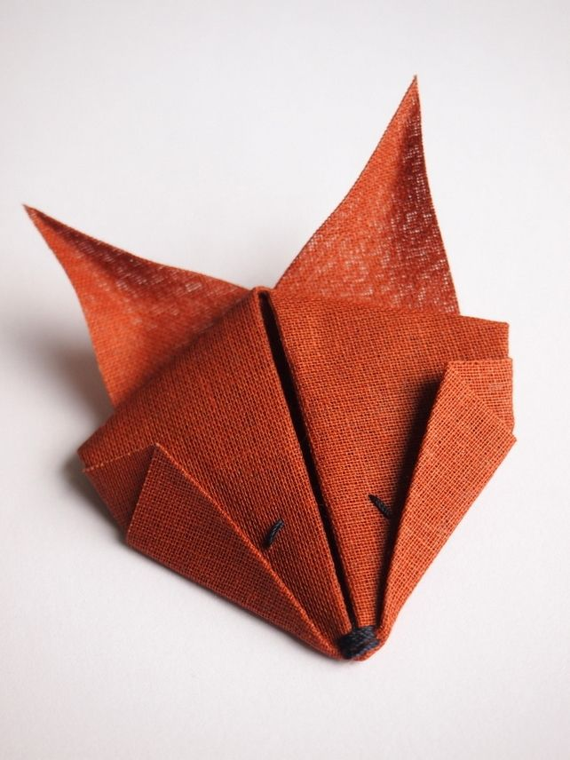 Fox Brooch. Red Brown Cotton Textile Origami Animal Brooch Pin