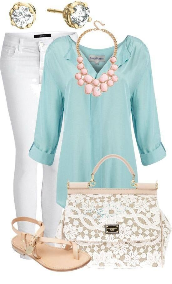 simple blue top and white pant with a pop of color in the pink pastel necklace