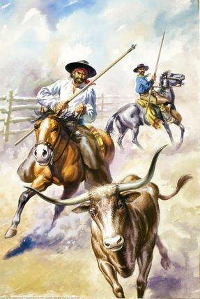 Early Spanish rancheros with their picas and armas ~ Illustrator, F. Humphris.
