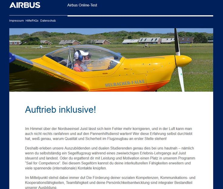 The Sky's not the limit – Airbus Online-Test zur Azubi- und Duali-Auswahl bei Airbus Defence and Space