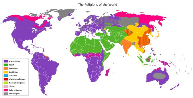 This map shows the dominant religions of the world, note that Europe as a whole is mainly purple. Also note that Germany has Muslims in the Berlin region.