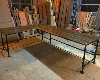 Industrial Pipe L-Shaped Desk by AlexsWoodWorks on Etsy