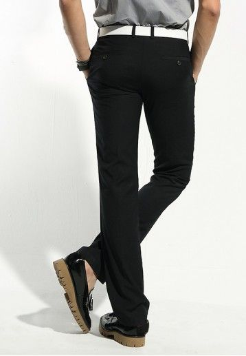Mens Navy Blue Business Casual Stright Leg Skinny Long Pants Trousers G132Z