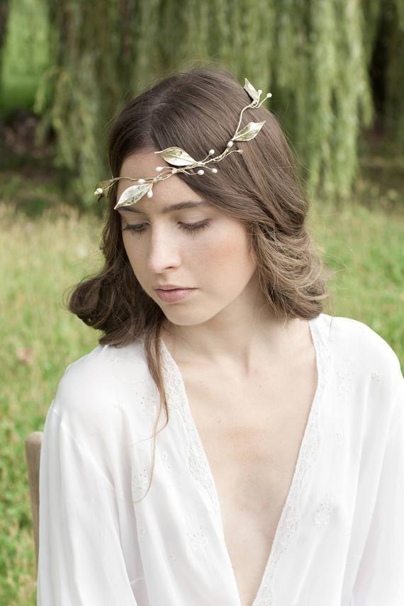 Bridal Tiara Hair Side Headband Beaded Ribbon Tiara Halo